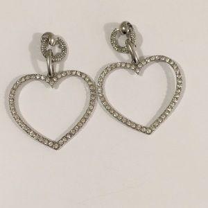 Topshop silver crystal heart earrings